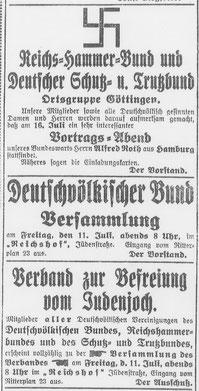 """Göttinger Tageblatt, 10.07.1919: Aufruf zur Gründungsversammlung des """"Verbandes zur Befreiung vom Judenjoch"""". StA Göttingen"""