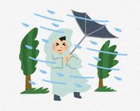 暴風雨で傘がひっくり返る様子。イラスト