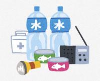 防災用品色々 懐中電灯・水・ラジオなど。 イラスト。