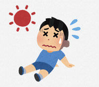 日射病の子供のイラスト