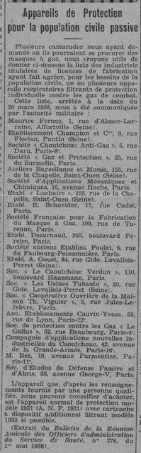 Liste des fabricants de masque de protection - Journal de l'UNC de Rouen, juin 1938.