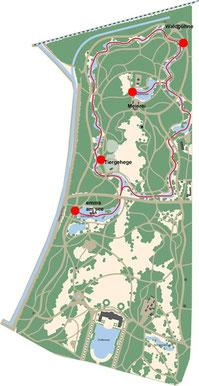 """Route und Anlegestellen der """"Marie II""""."""