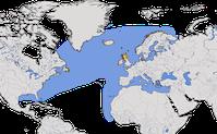 Karte zur Verbreitung des Basstölpels (Morus bassanus)