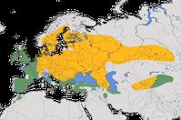 Karte zur Verbreitung der Hohltaube (Columba oenas)