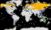 Karte zur Verbreitung der Gattung der Schwäne (Cygnus)