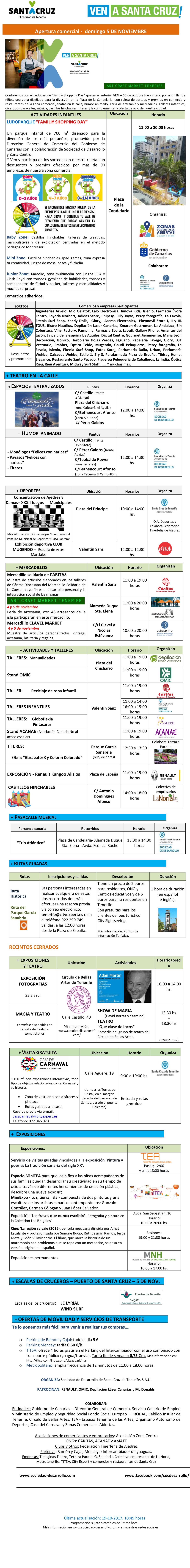 Ven a Santa Cruz - Talleres infantiles e informacion por parte de ACANAE