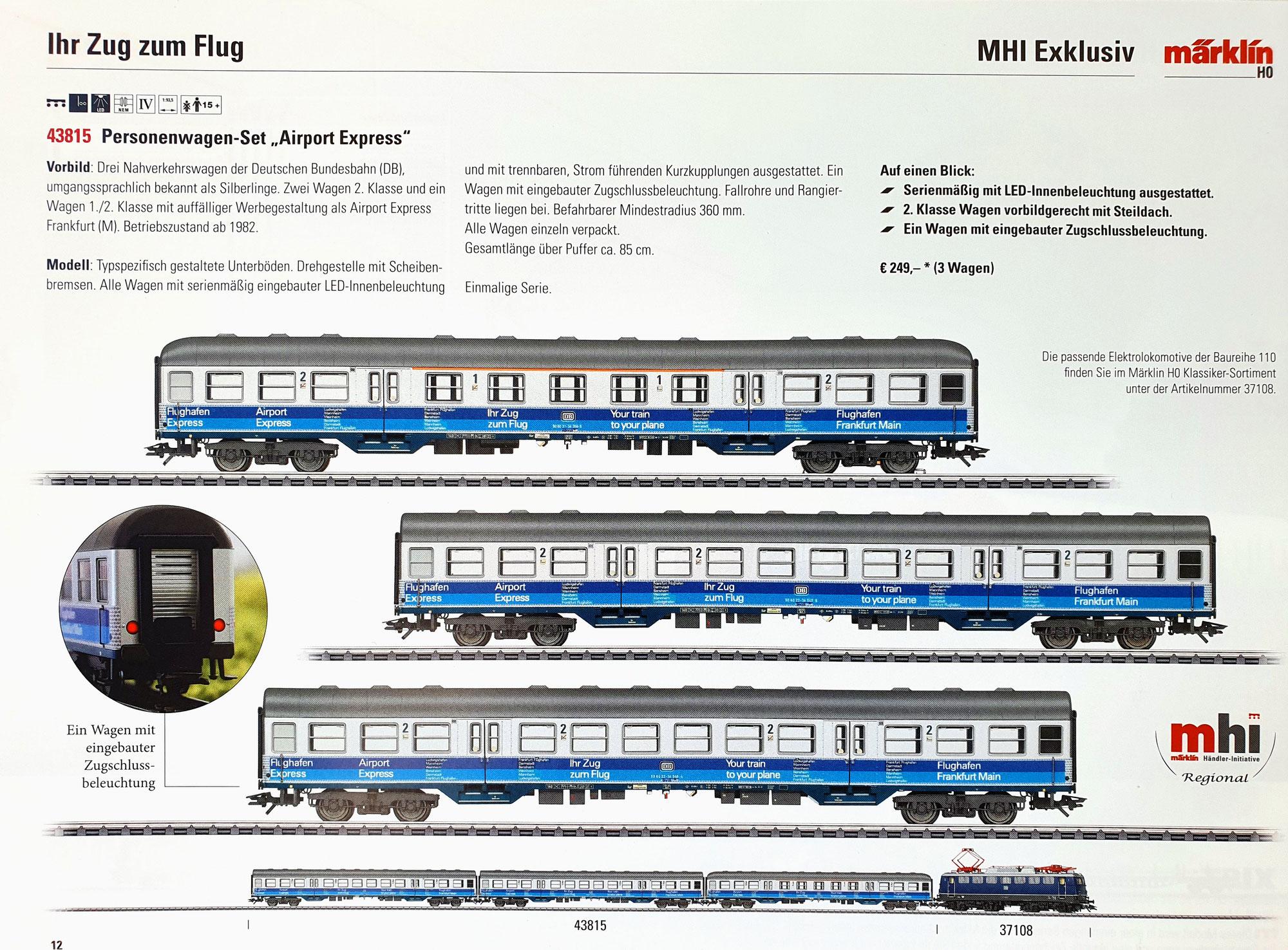 """H0 Märklin 43815 Personenwagenset """"Airport Express"""""""