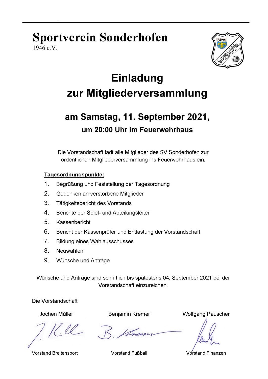 Ordentliche Mitgliederversammlung 2021