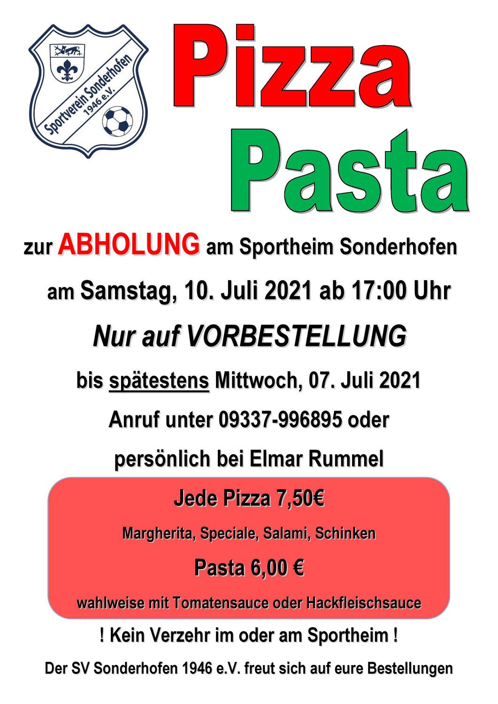 Pizza- und Pasta-Verkauf am 10.07.2021
