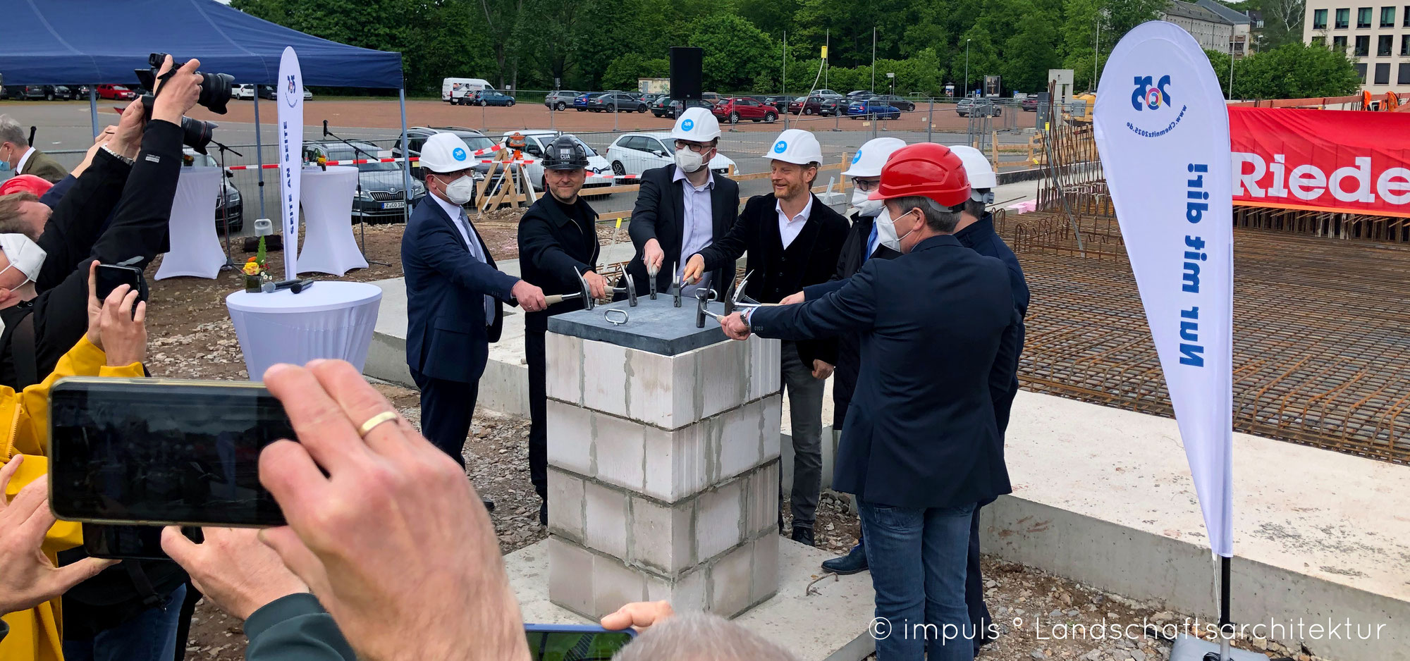 Grundsteinlegung für die Oberschule am Hartmannplatz in Chemnitz