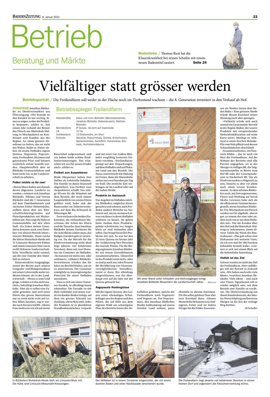 Freilandfarm Betriebsporträt in der Bauernzeitung