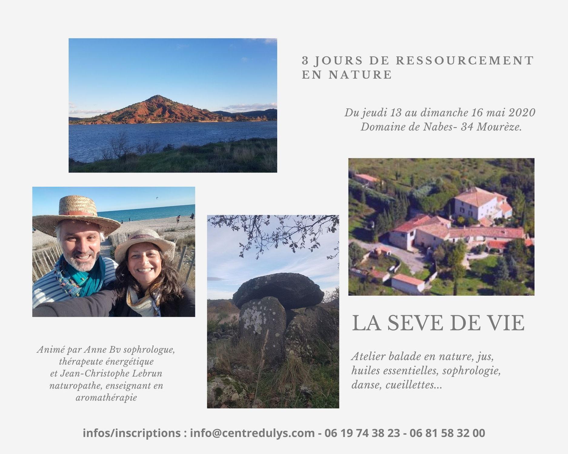 """13/16 Mai 2021 - Stage """"La Sève de Vie"""", Domaine de Nabès à Mourèze"""