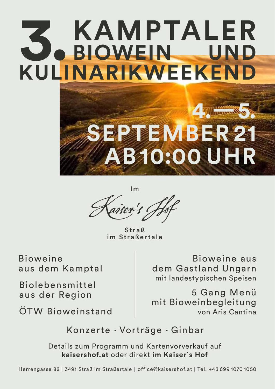 Bioweinnacht in Straß am 4. & 5. Sept. im Kaiserhof