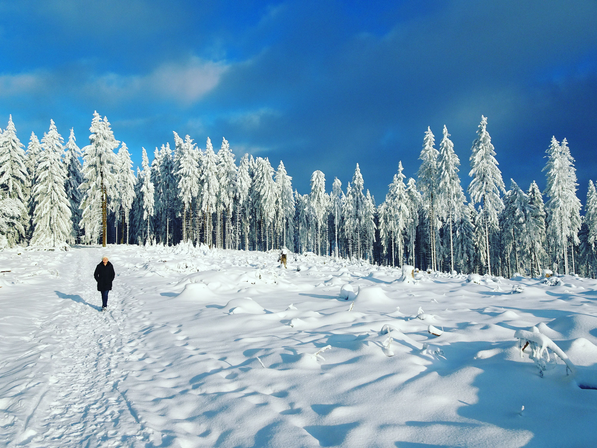 Rando dans la neige dans le Taunus