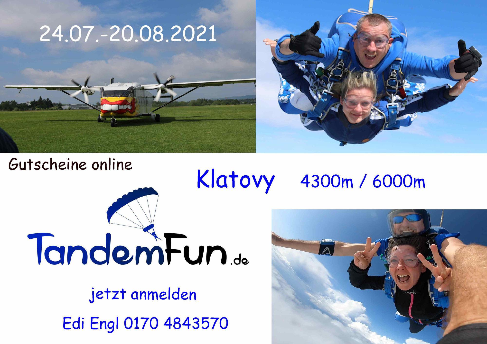 Tandem Fallschirmspringen in Klatovy aus 4300m und 6000m