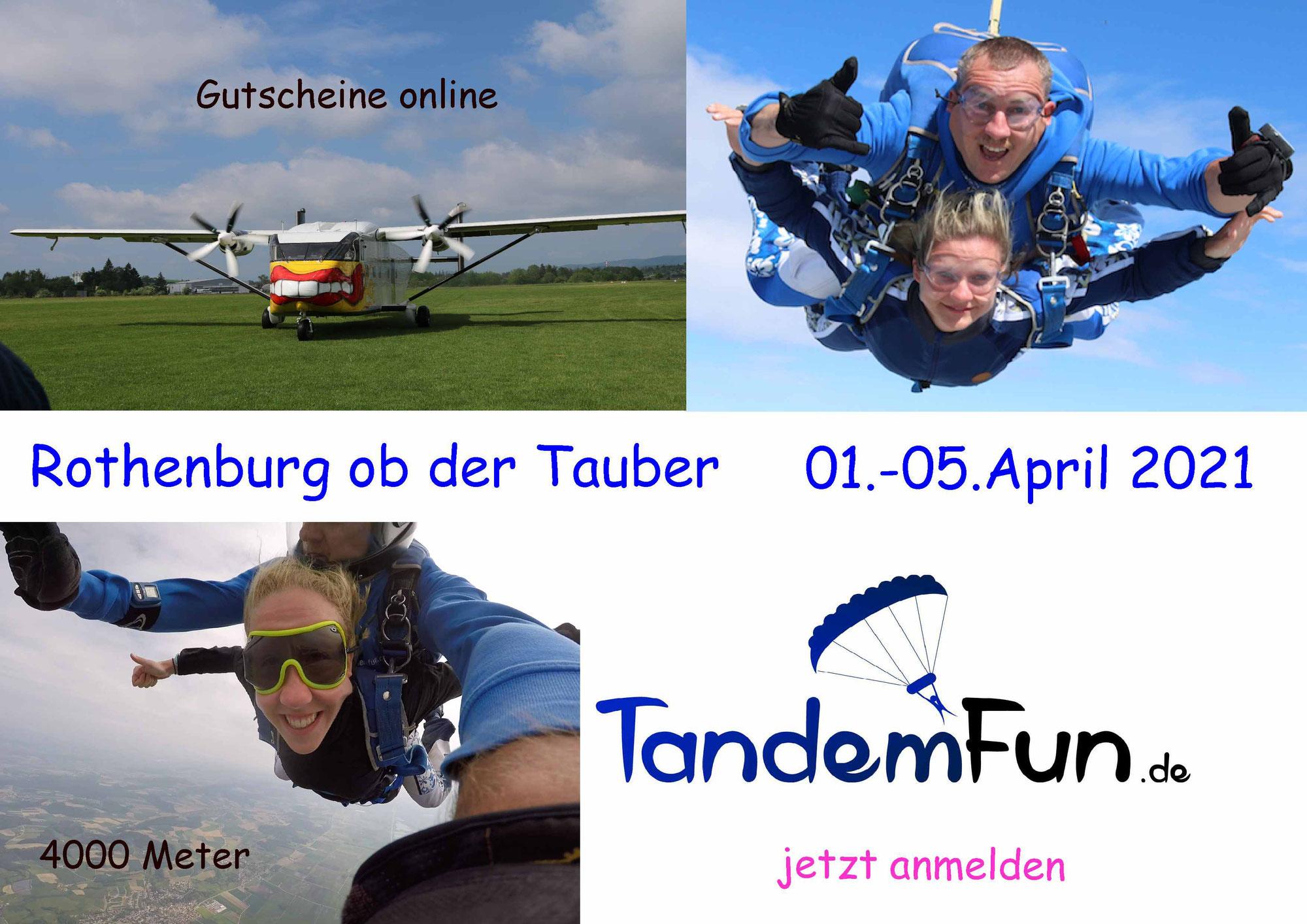 Ein Tandemsprung an Ostern 2021 in Rothenburg ob der Tauber