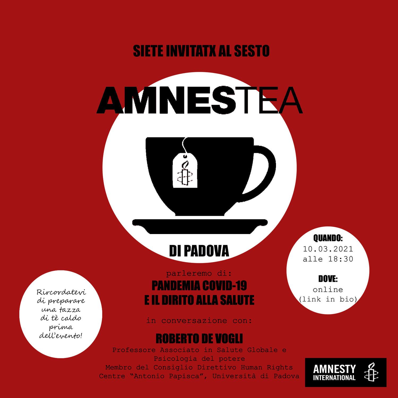 AmnesTea: pandemia e diritto alla salute, un incontro il 10 marzo