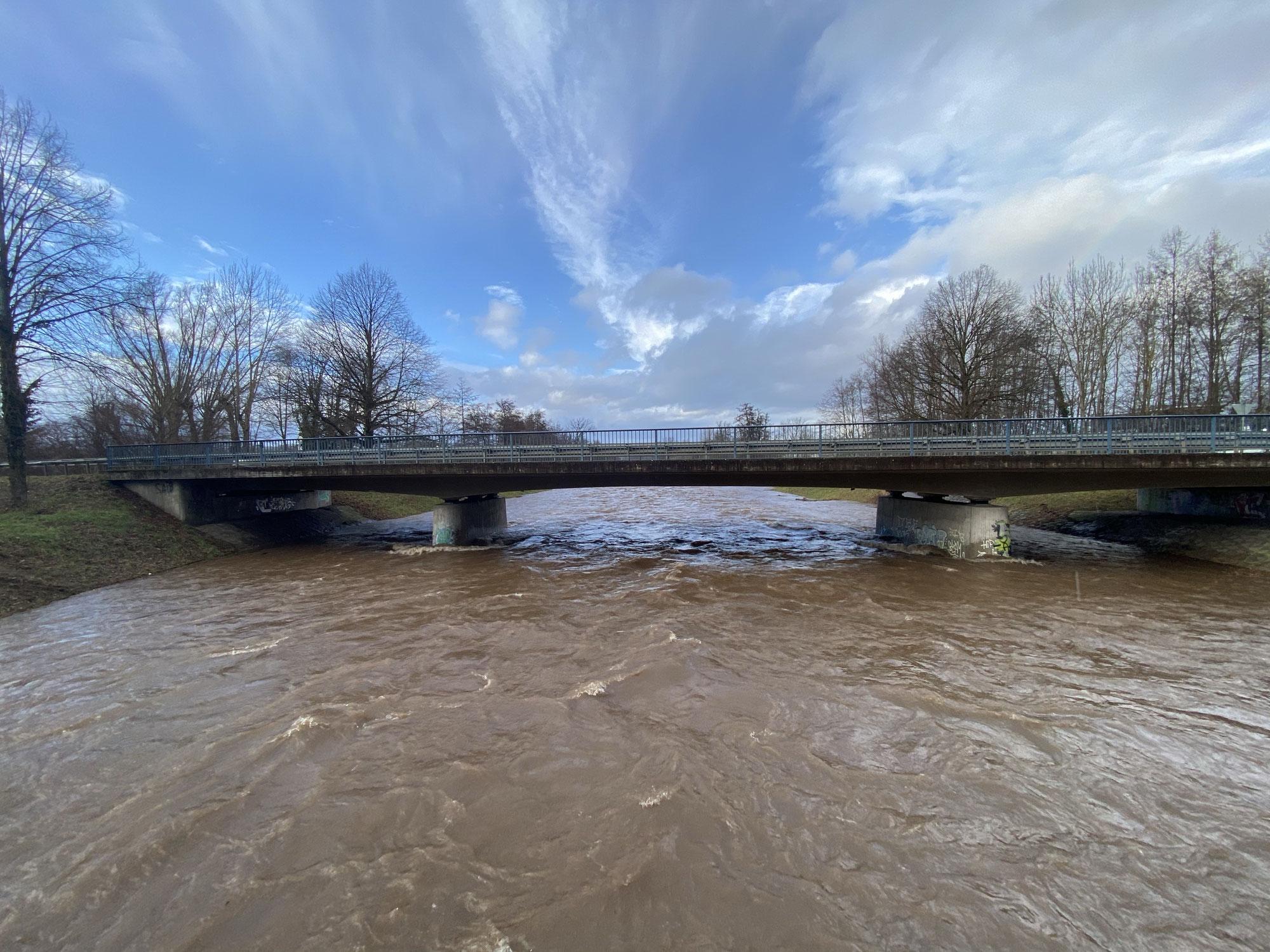 Gefährliches Hochwasser in Freiburg an der Dreisam am 29.01.2021