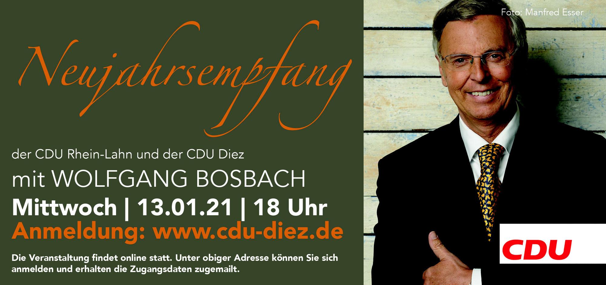 Technische Kapazitäten aufgestockt - Jetzt noch anmelden: Wolfgang Bosbach beim 23. Traditionellen Neujahrsempfang