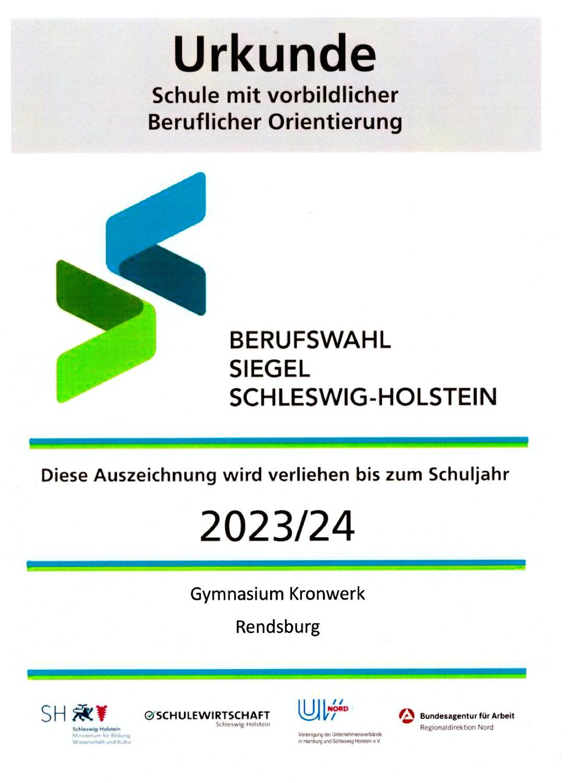 Auszeichnung mit dem Berufswahl-Siegel