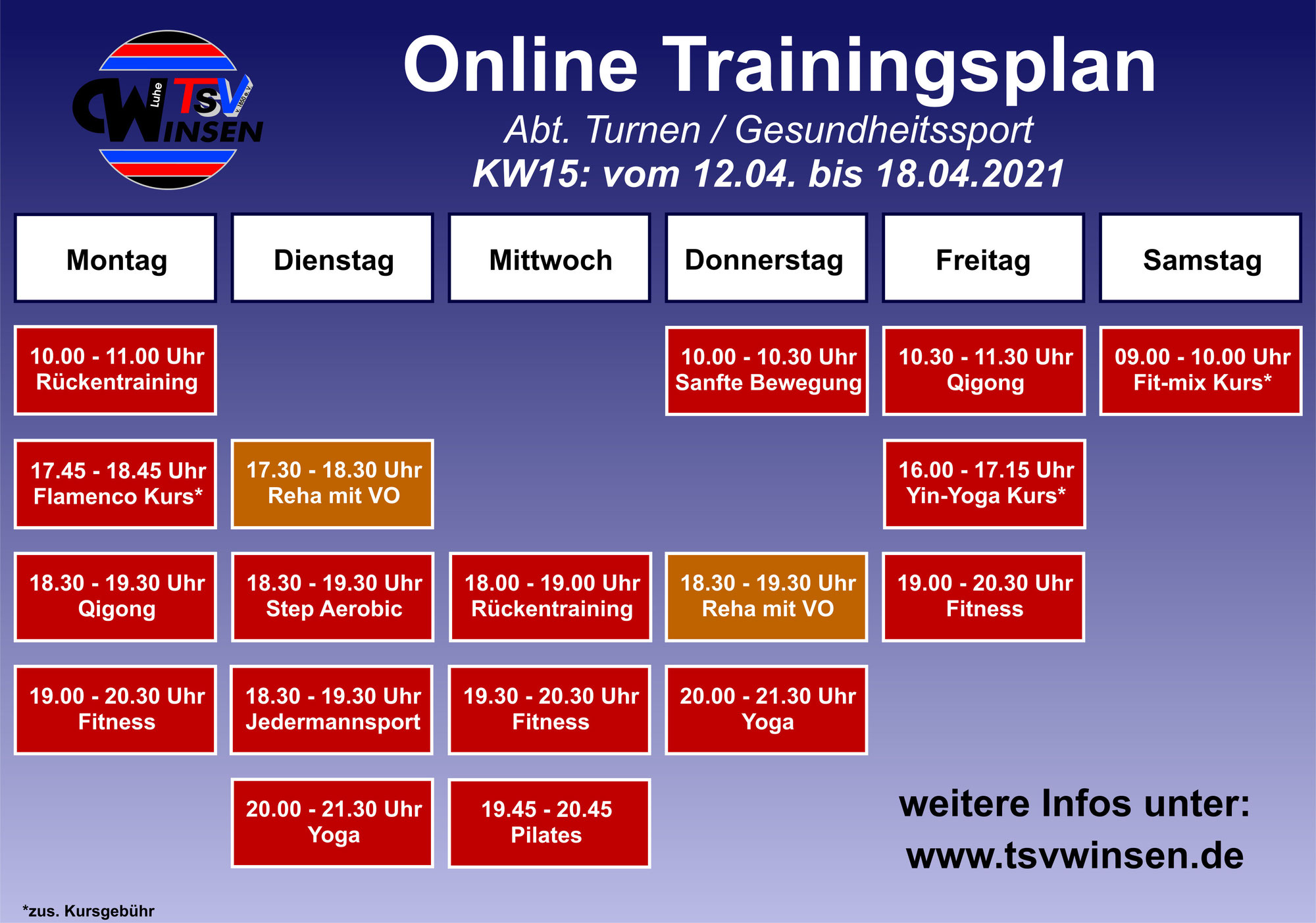Trainingsplan vom 12.04.-18.04.