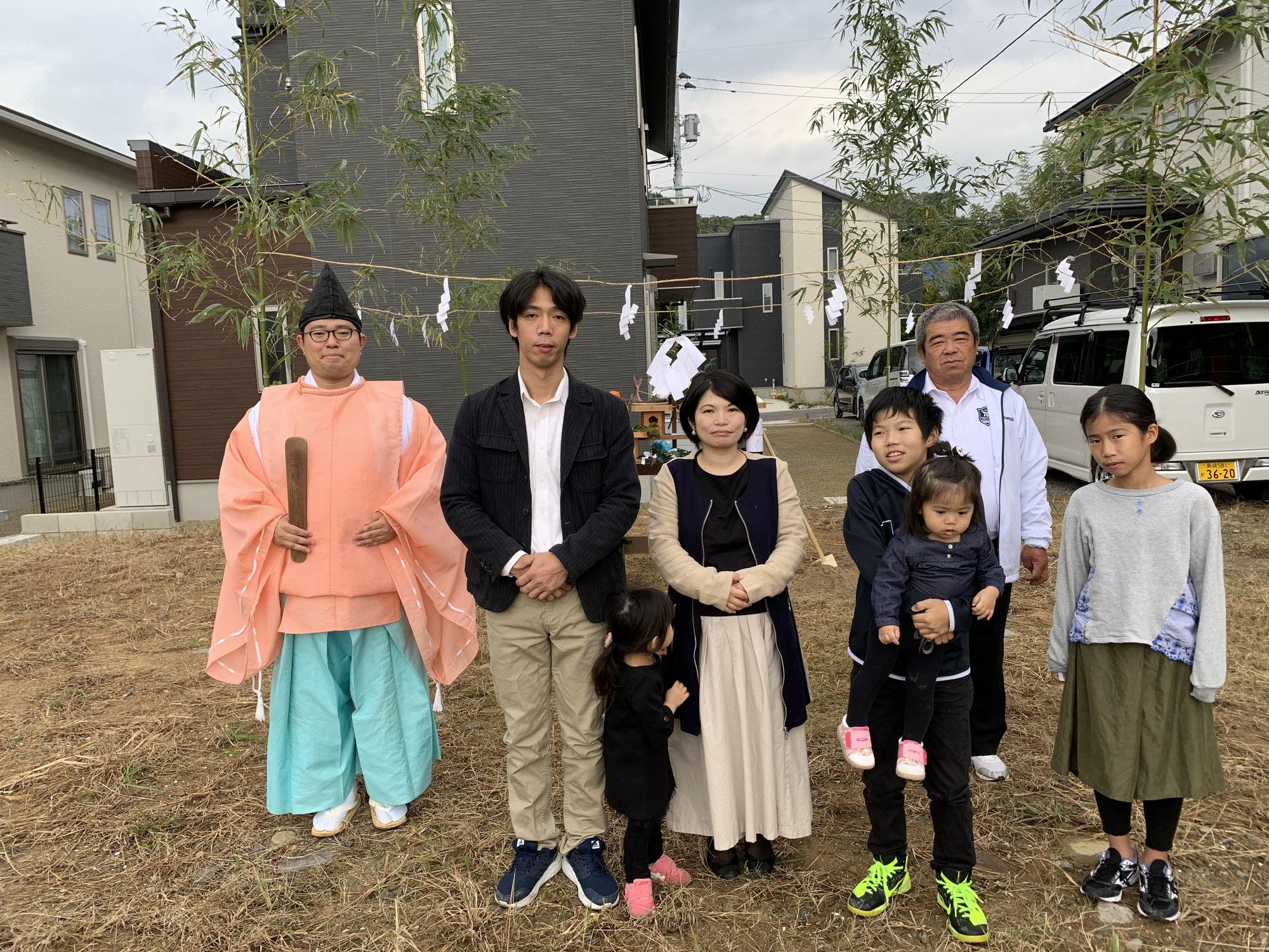 真崎町の大型分譲地で地鎮祭