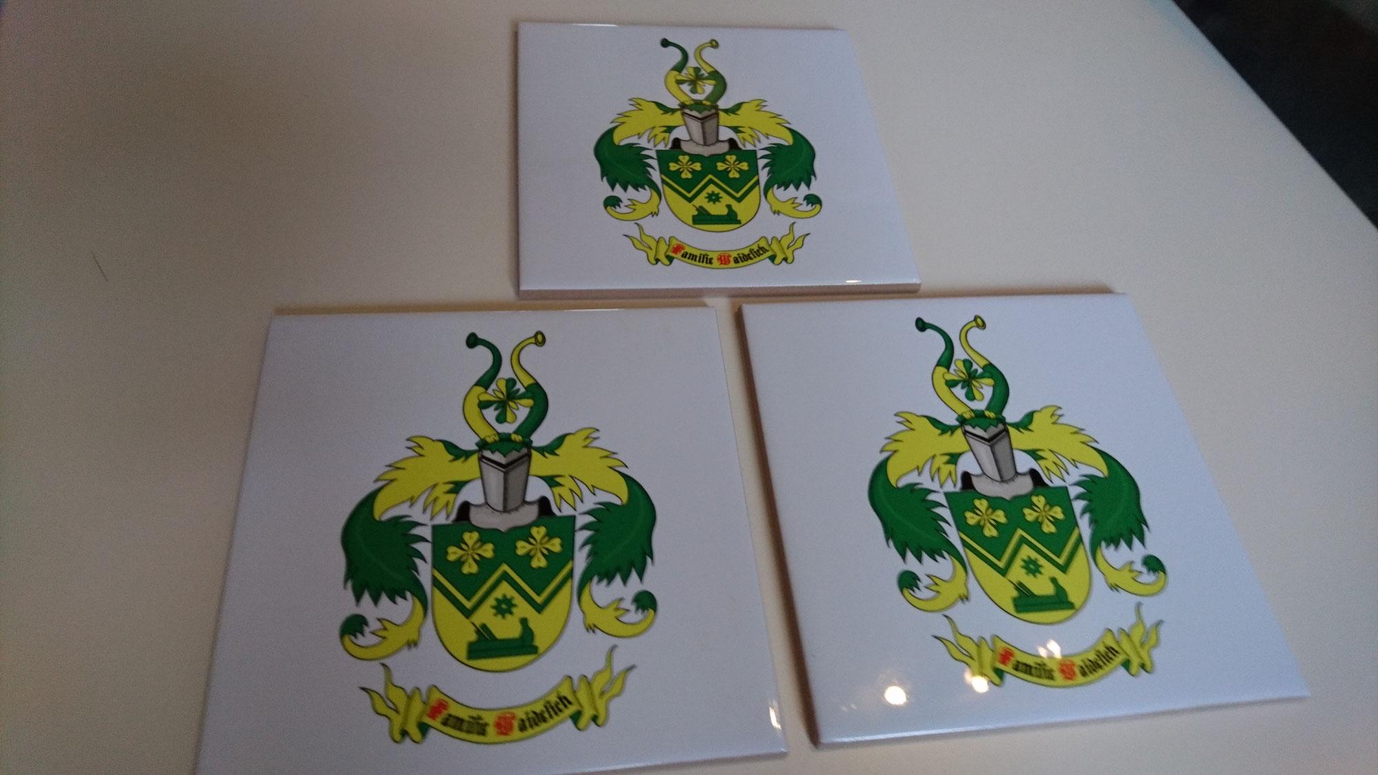 Familienwappen auf Kachel,  Fliese gedruckt bestellen, kaufen
