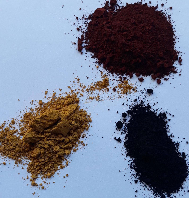 L'oxyde de fer : rouge, noir, jaune, brun...