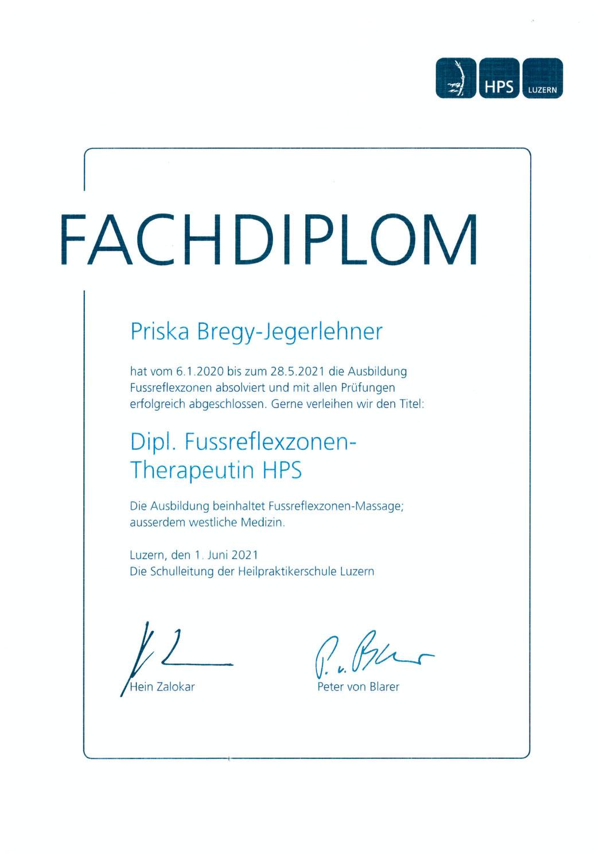 In eigener Sache - Diplom als Fussreflexzonen-Therapeutin HPS