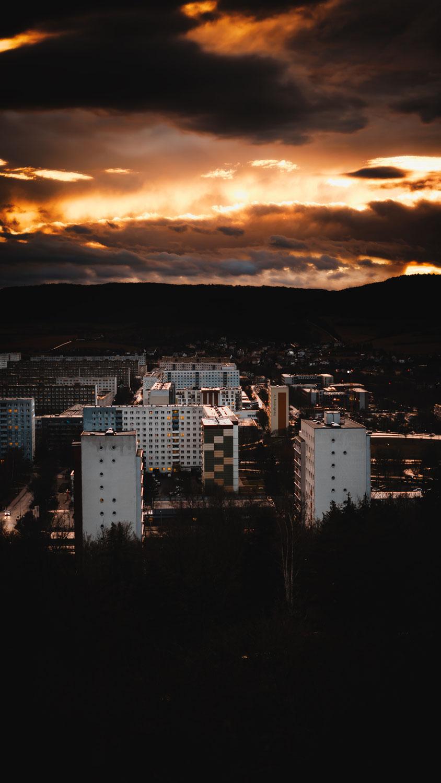 Sonnenuntergang am Uniklinikum Jena