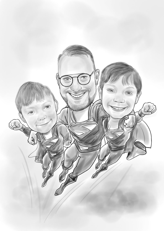 Karikatur vom Foto Superman, Bleistift