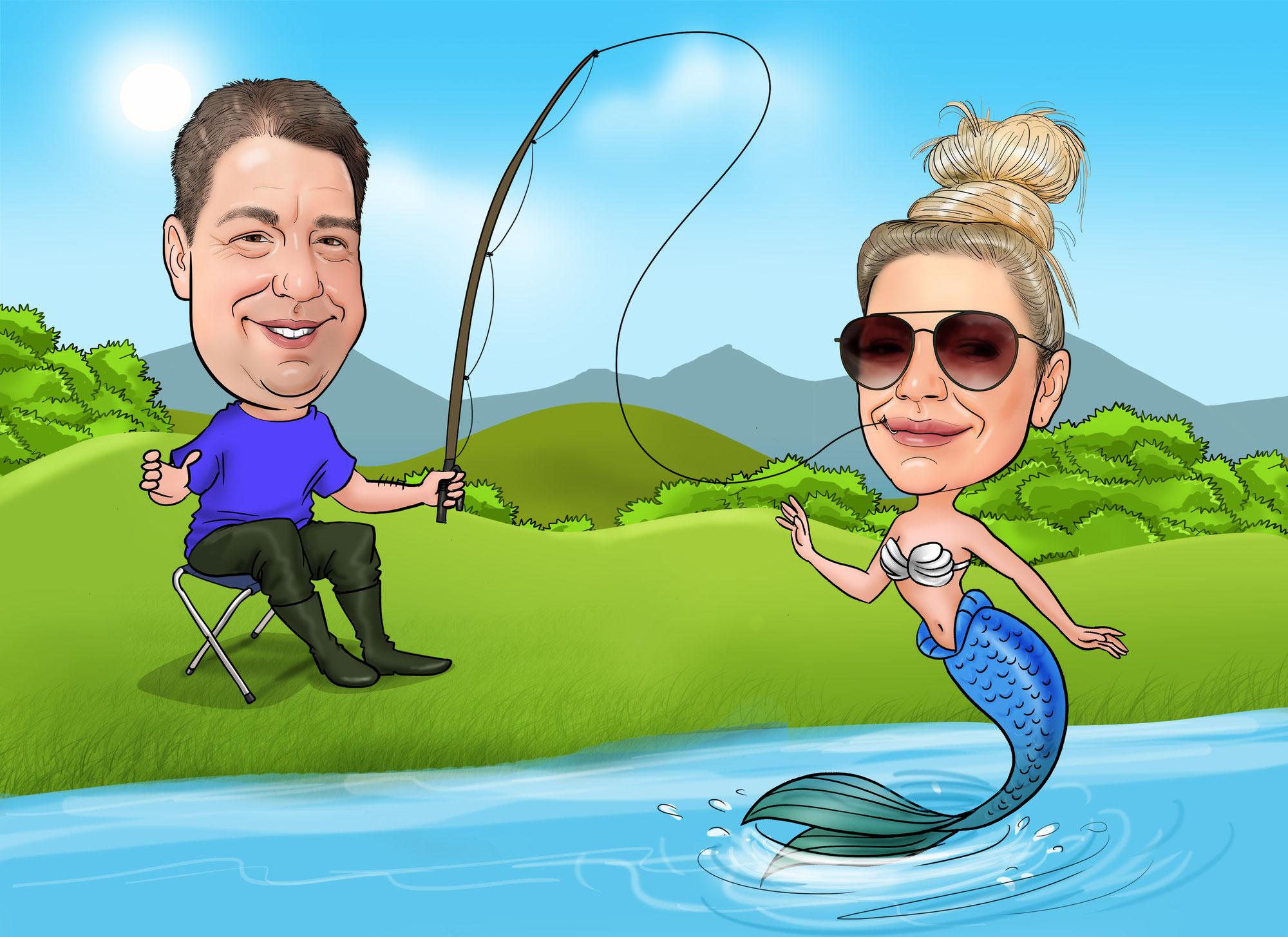 Karikatur vom Foto zeichnen lassen, Angler, Fisch, Nixe, Date, Liebe