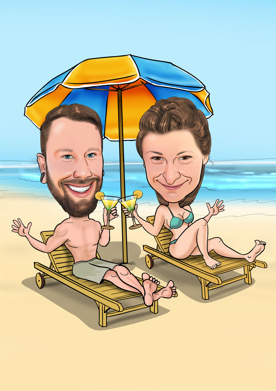 Zeichnung Strand, Ozean, Urlaub als Geschenk, Geburtstagsgeschenk