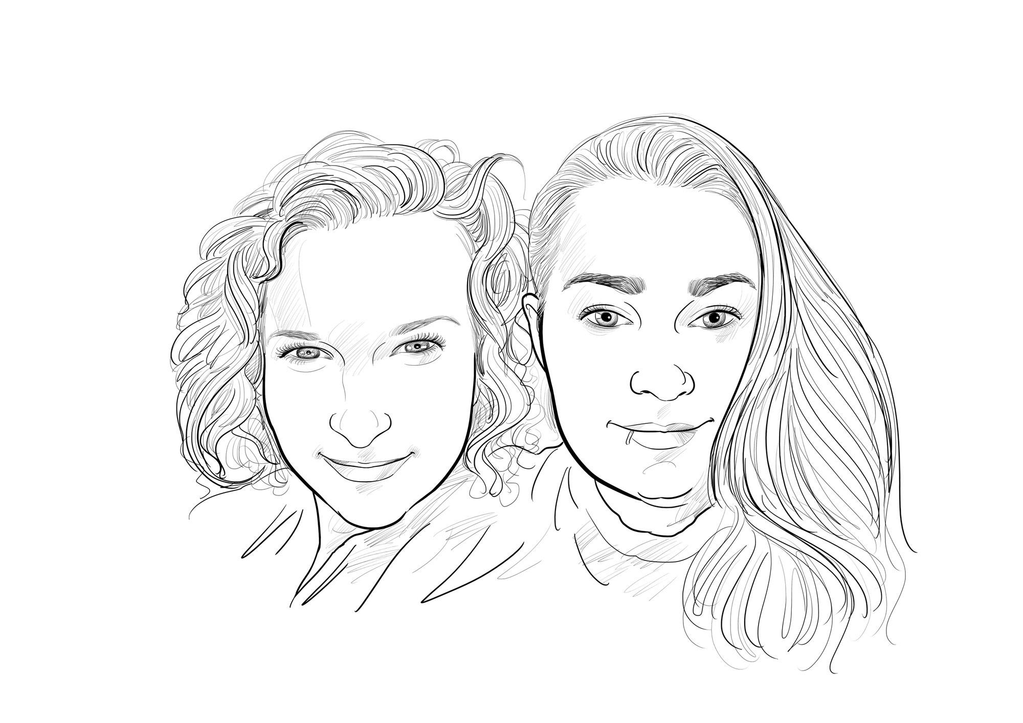 Karikatur vom Foto in Bleistift, Freundinnen