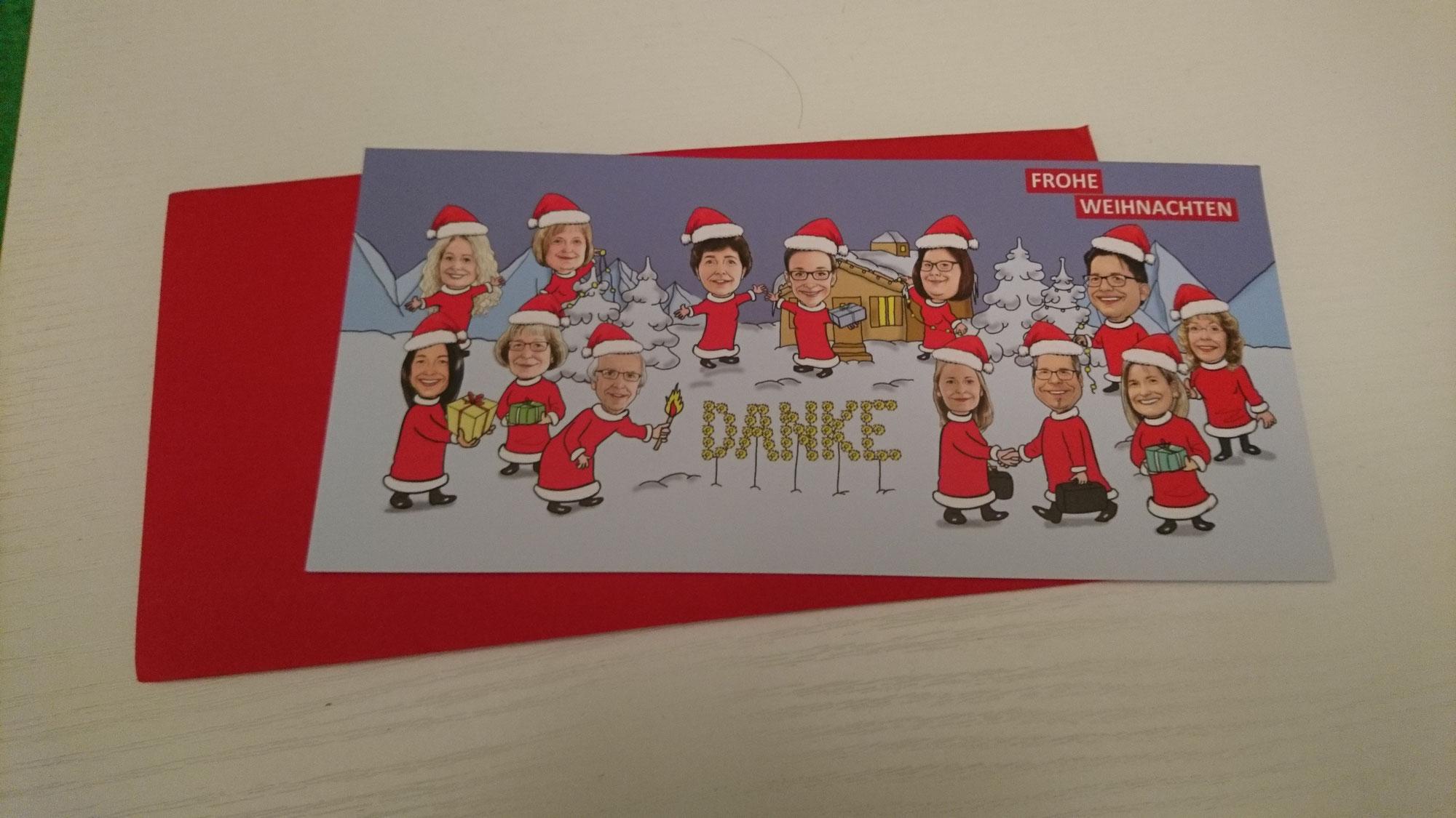 Weihnachtskarte - Danksagung, Karte, Einladungskarte mit Karikaturen vom Foto