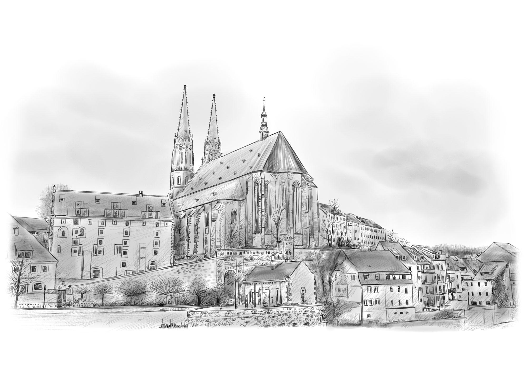Bleistiftzeichnung Pirna, Zeichnung Ihrer Stadt  in Bleistift