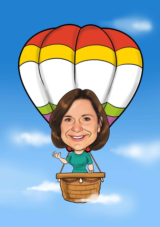 Karikatur vom Foto Ballon, Ballonfahrt
