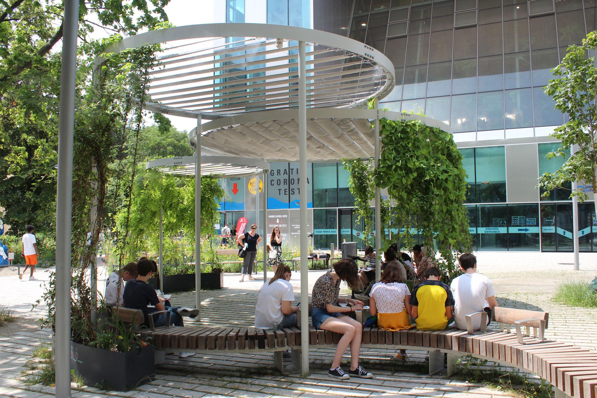Workshops mit Schülerinnen und Schülern des benachbarten Amerlinggymnasiums zum Coolspot im Esterházypark