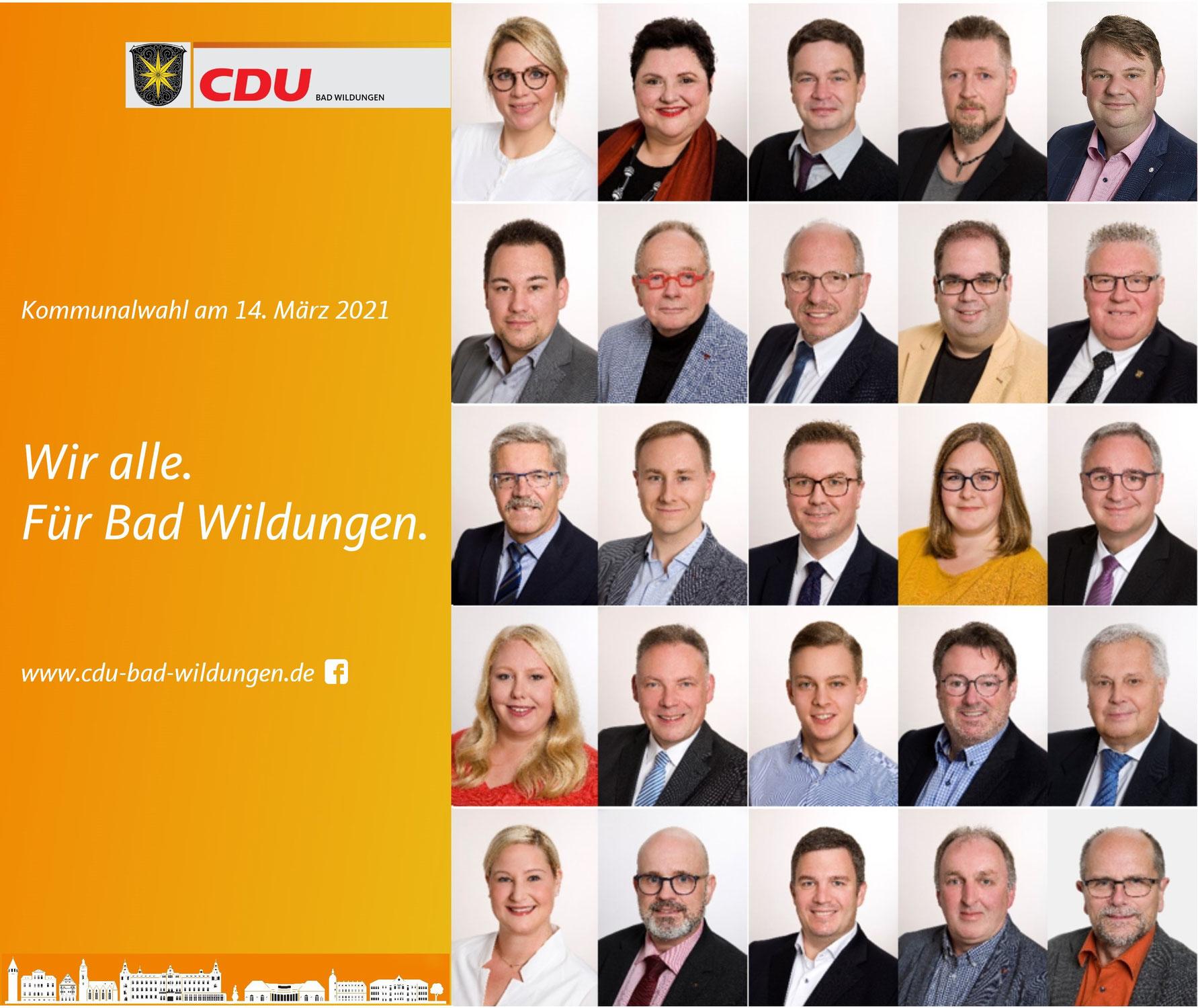 CDU Liste für die Kommunalwahl
