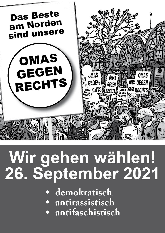 Wahlaufruf zur Bundestagswahl 2021: Ein Flyer der Omas Gegen Rechts