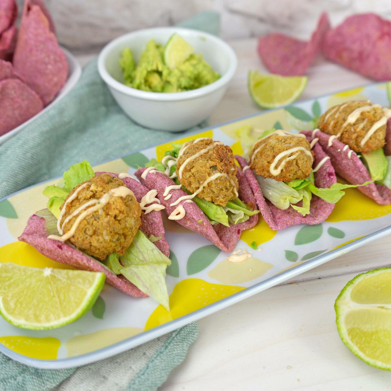 Rote Beete Tacos mit Falafel