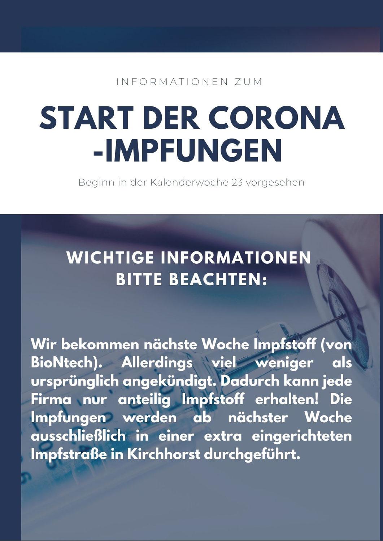Coronaimpfungen ab Juni