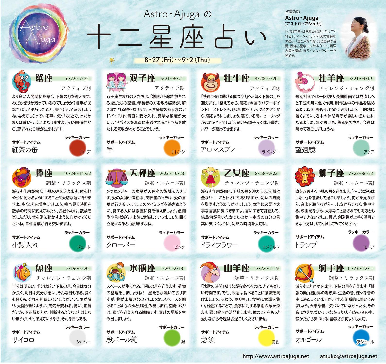 週刊ベイスポ「12星座占い」の連載(8/27〜9/2)