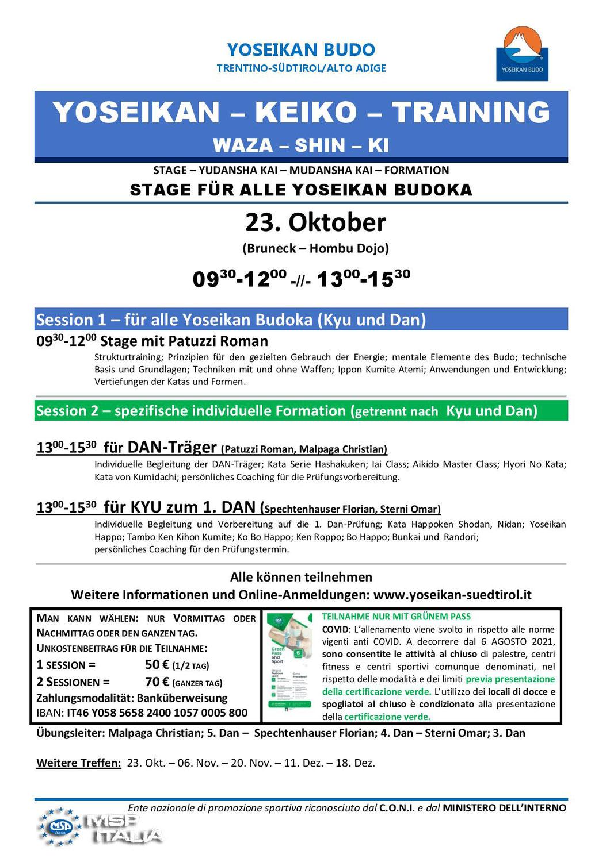 23-10-2021 Stage - Training - DAN & KYU