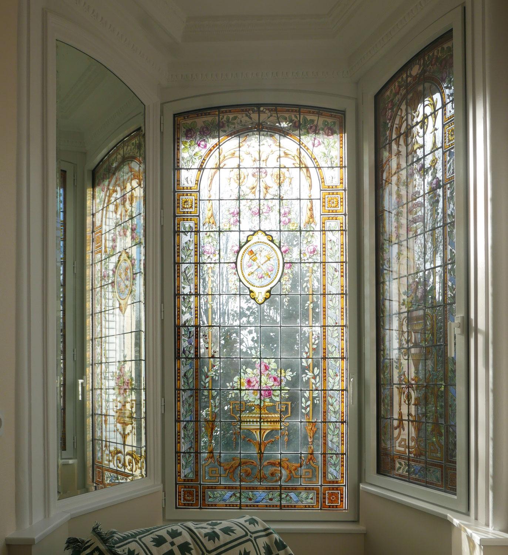 Rénovation des vitraux d'un oriel