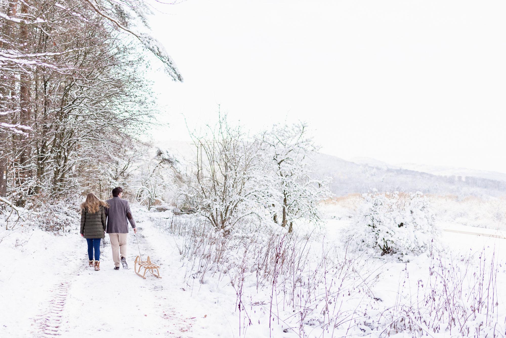 Schneefotos zur Verlobung