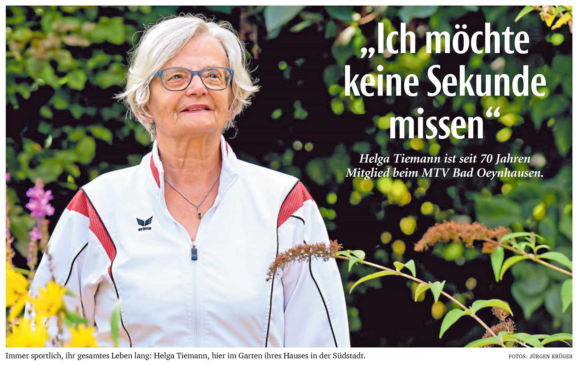 NW-Artikel: Helga Tiemann ist seit 70 Jahren Mitglied beim MTV Bad Oeynhausen ...