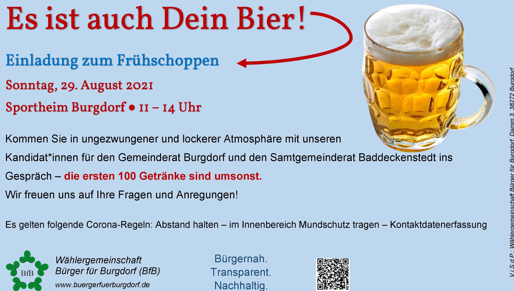 Es ist auch Dein Bier! Einladung zum Frühschoppen am 29.08.