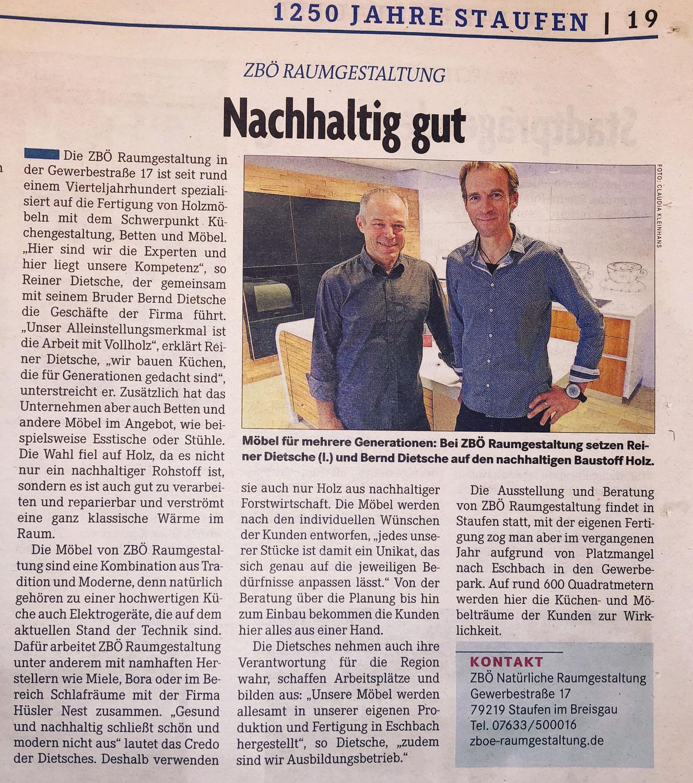 ZBÖ Raumgestaltung in der Badischen Zeitung