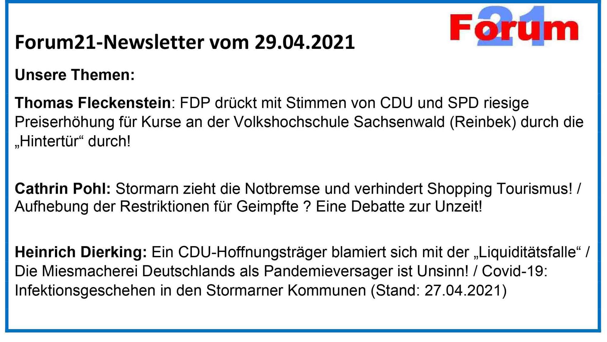 Forum21-Newsletter vom 29.04.2021